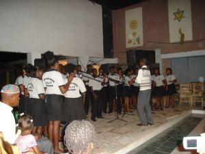 This choir sang a welcome for a Mountains to Mountains work team in August, 2011.
